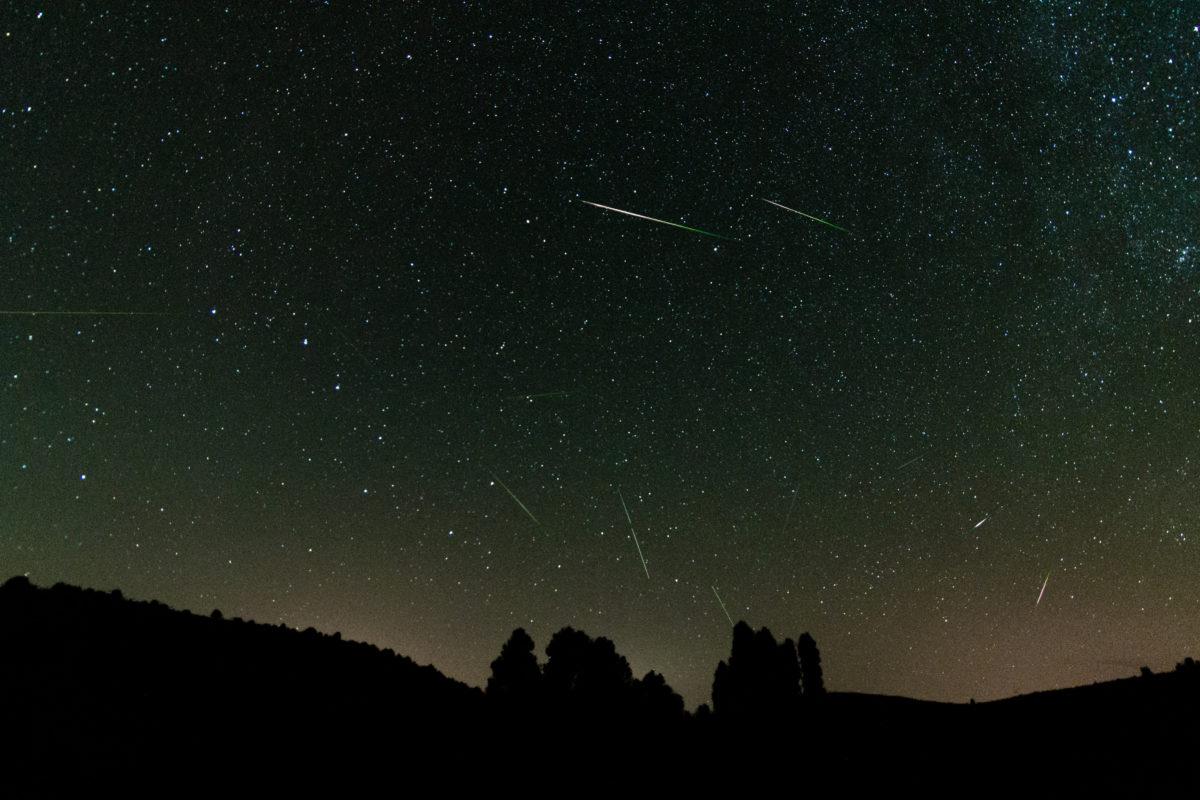 Fotografía con todas las estelas obtenidas de las estrellas fugaces.